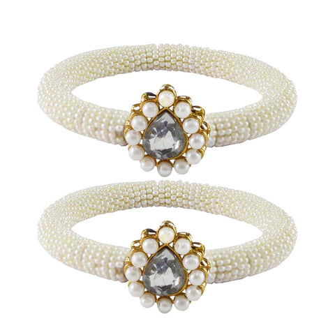 White Color Brass Stone Stud Bangle - ban2160