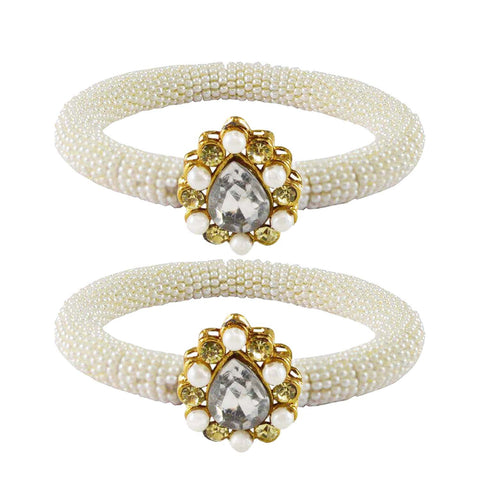 White Color Brass Stone Stud Bangle - ban2161