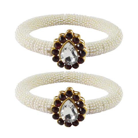 White Color Brass Stone Stud Bangle - ban2162