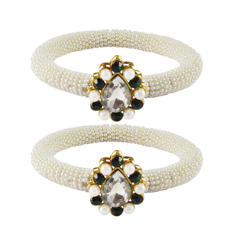 White Color Brass Stone Stud Bangle - ban2163