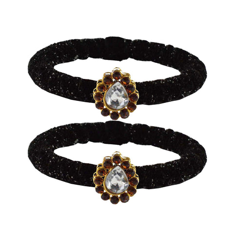 Black Color Brass Stone Stud Bangle - ban2168