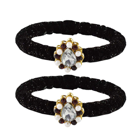 Black Color Brass Stone Stud Bangle - ban2173