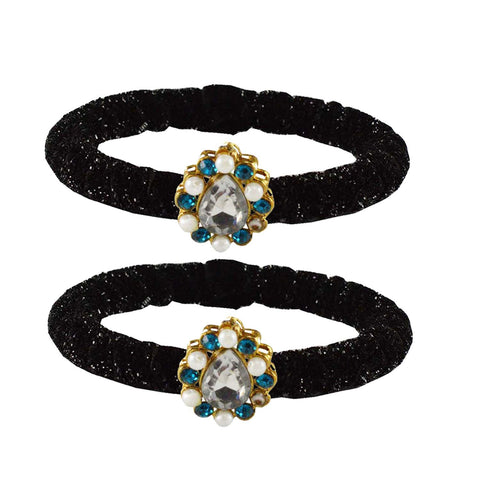 Black Color Brass Stone Stud Bangle - ban2175