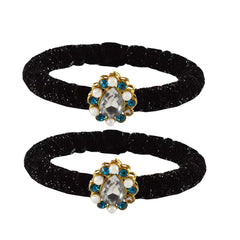 Buy Black Color Brass Stone Stud Bangle