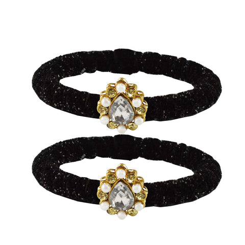 Black Color Brass Stone Stud Bangle - ban2178