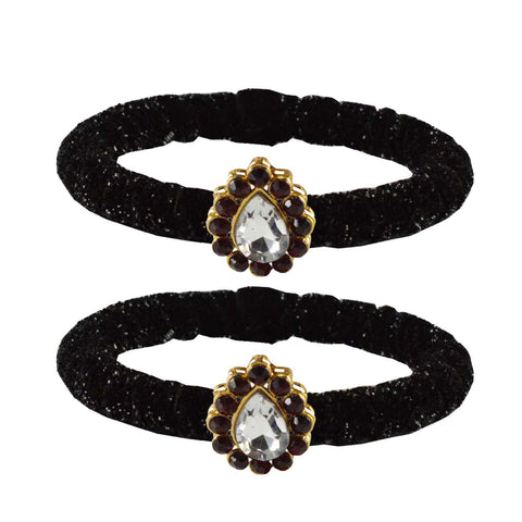 Black Color Brass Stone Stud Bangle - ban2179