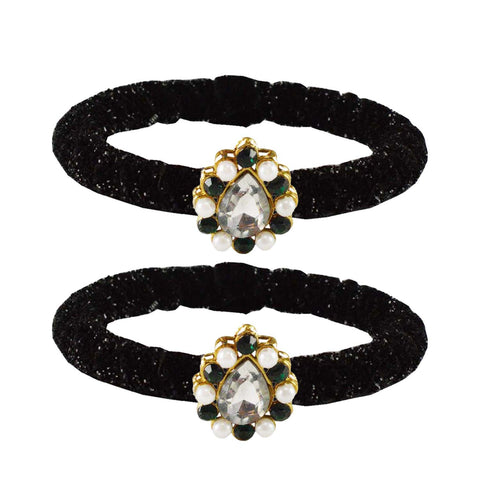 Black Color Brass Stone Stud Bangle - ban2180