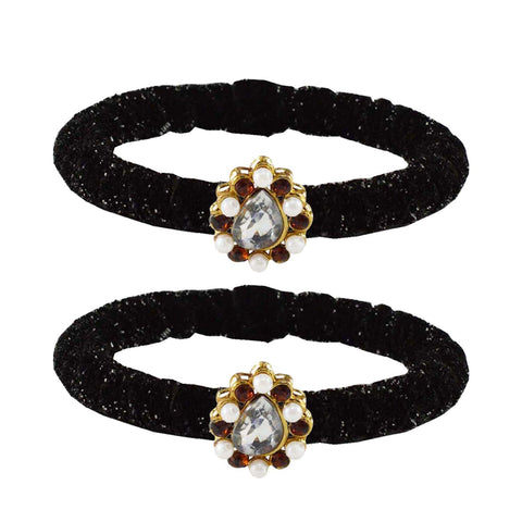 Black Color Brass Stone Stud Bangle - ban2181