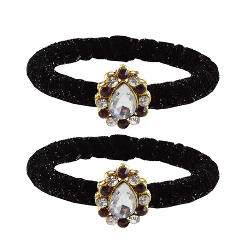 Black Color Brass Stone Stud Bangle - ban2182
