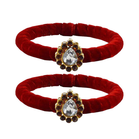 Red Color Brass Stone Stud Bangle - ban2202