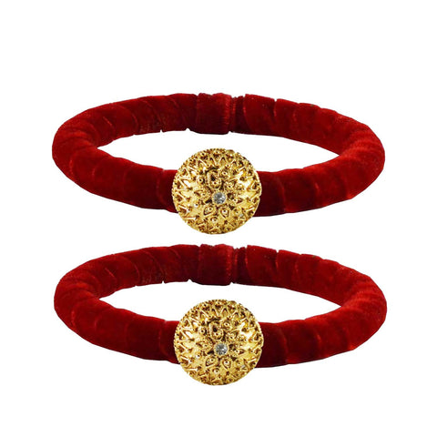 Red Color Brass Stone Stud Bangle - ban2205