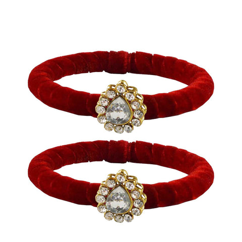 Red Color Brass Stone Stud Bangle - ban2206
