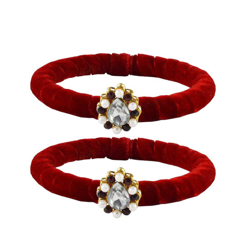 Red Color Brass Stone Stud Bangle - ban2207