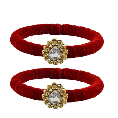 Red Color Brass Stone Stud Bangle - ban2208