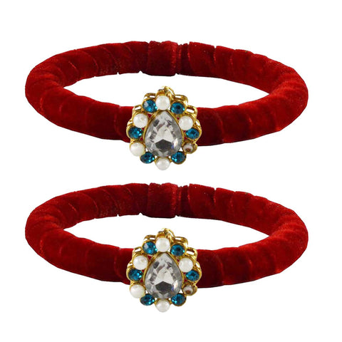 Red Color Brass Stone Stud Bangle - ban2209
