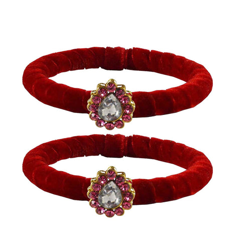 Red Color Brass Stone Stud Bangle - ban2210