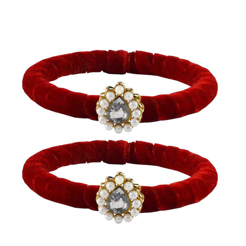 Red Color Brass Stone Stud Bangle - ban2211