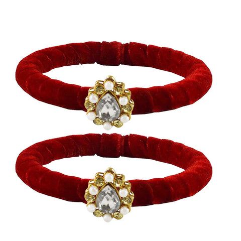 Red Color Brass Stone Stud Bangle - ban2212