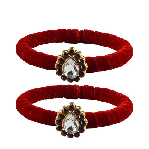 Red Color Brass Stone Stud Bangle - ban2213