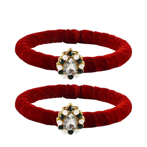 Red Color Brass Stone Stud Bangle - ban2214