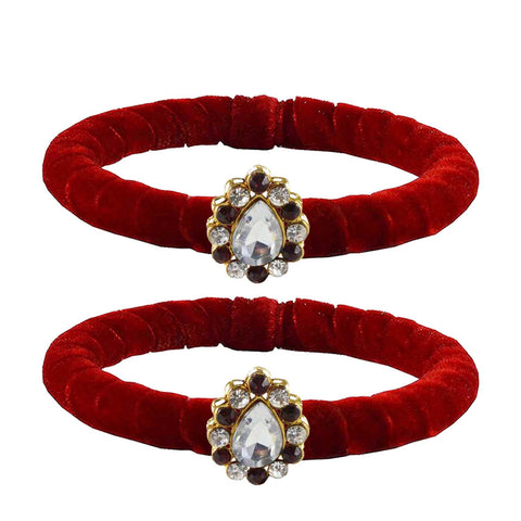 Red Color Brass Stone Stud Bangle - ban2216