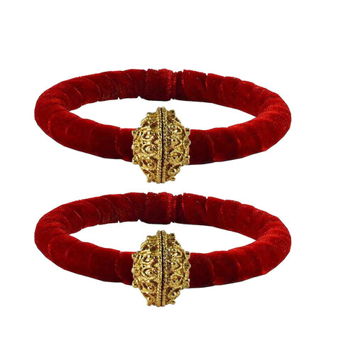 Red Color Brass Plain Bangle - ban2218