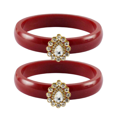 Red Color Acrylic-Brass Stone Stud Bangle - ban2287