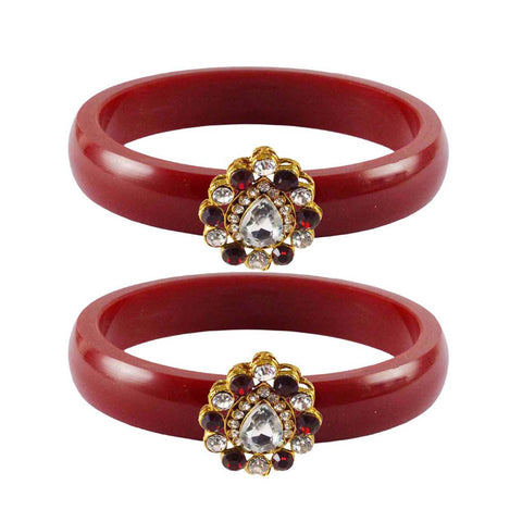 Red Color Acrylic-Brass Stone Stud Bangle - ban2288