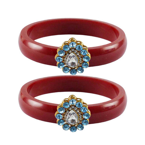 Red Color Acrylic-Brass Stone Stud Bangle - ban2289