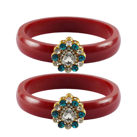 Red Color Acrylic-Brass Stone Stud Bangle - ban2290
