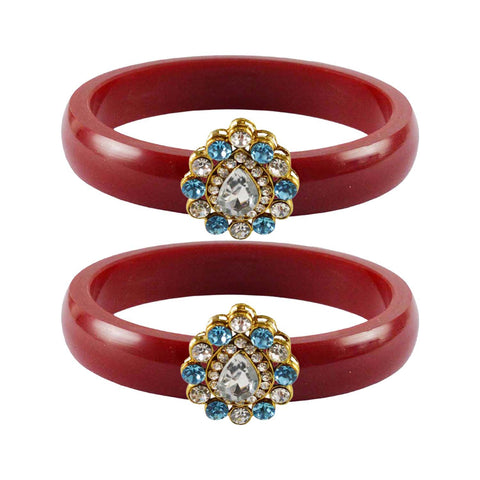 Red Color Acrylic-Brass Stone Stud Bangle - ban2291