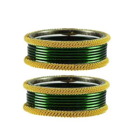 Dark Green Color Plain Brass Bangle - ban2762