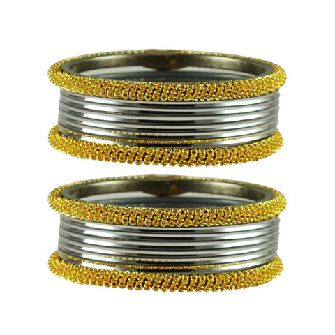 Silver Color Plain Brass Bangle - ban2782