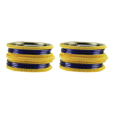 Dark Blue Color Plain Brass Bangle - ban2785