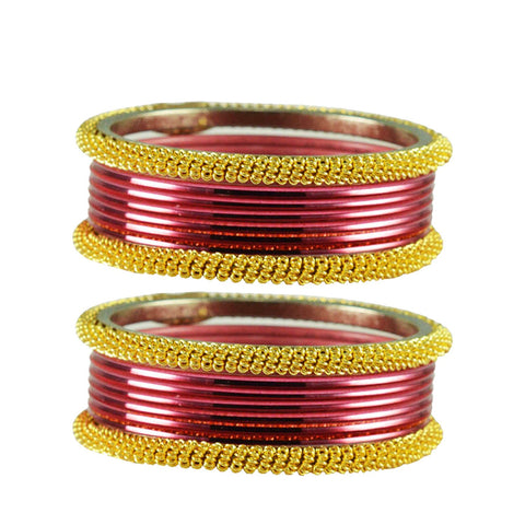 Dark Pink Color Plain Brass Bangle - ban2786