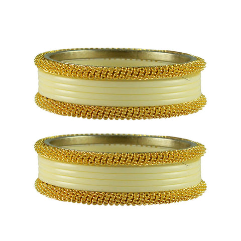 Cream Color Plain Acrylic-Brass Bangle - ban2808