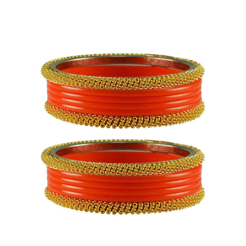 Orange Color Plain Acrylic-Brass Bangle - ban2835