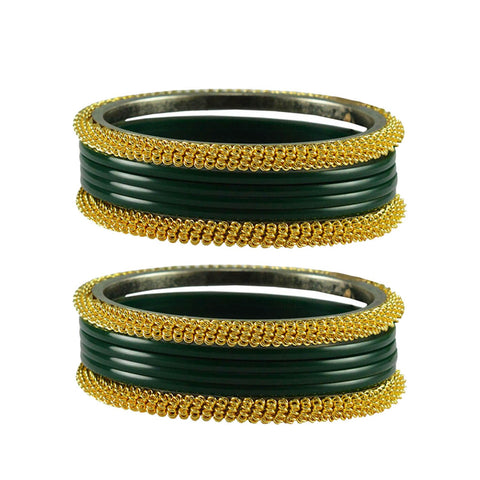 Green Color Plain Acrylic-Brass Bangle - ban2845