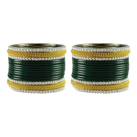 Green Color Plain Acrylic-Brass Bangle - ban2848