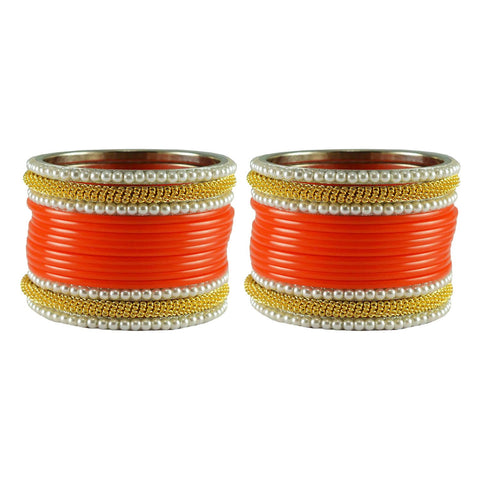 Orange Color Plain Acrylic-Brass Bangle - ban2854