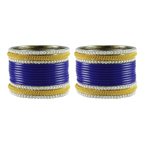Blue Color Plain Acrylic-Brass Bangle - ban2859