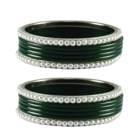 Green Color Moti Acrylic-Brass Bangle - ban2862