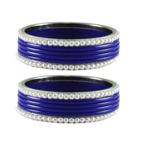 Blue Color Moti Acrylic-Brass Bangle - ban2863
