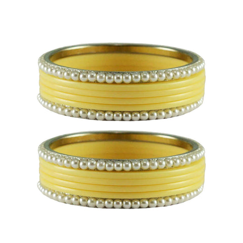 Cream Color Moti Acrylic-Brass Bangle - ban2868