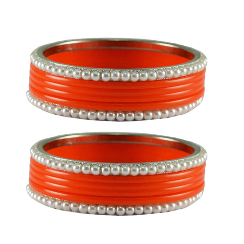 Orange Color Moti Acrylic-Brass Bangle - ban2871
