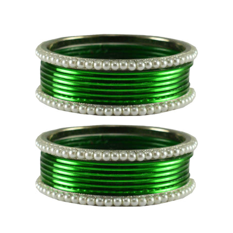 Green Color Moti Brass Bangle - ban2872