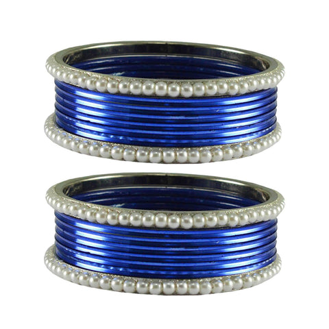 Blue Color Moti Brass Bangle - ban2883