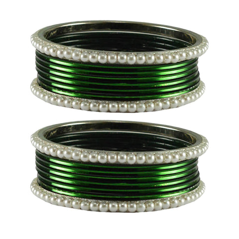 Dark Green Color Moti Brass Bangle - ban2888