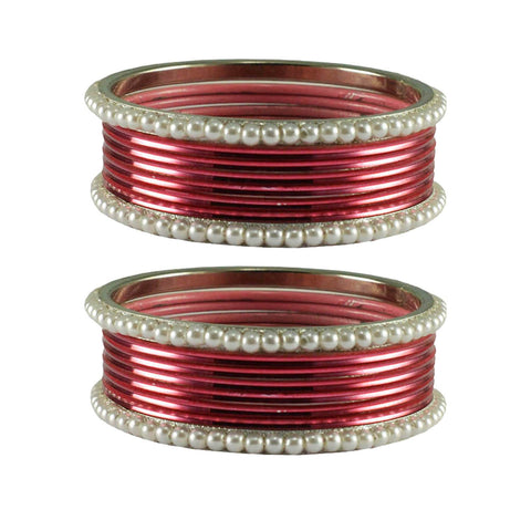 Light Rani Color Moti Brass Bangle - ban2900
