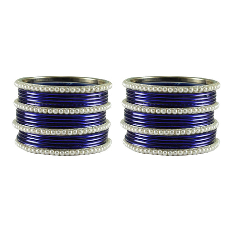 Dark Blue Color Moti Brass Bangle - ban2901